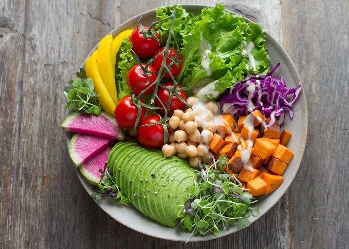 a colourful plate of food representing healthy nutrition through food