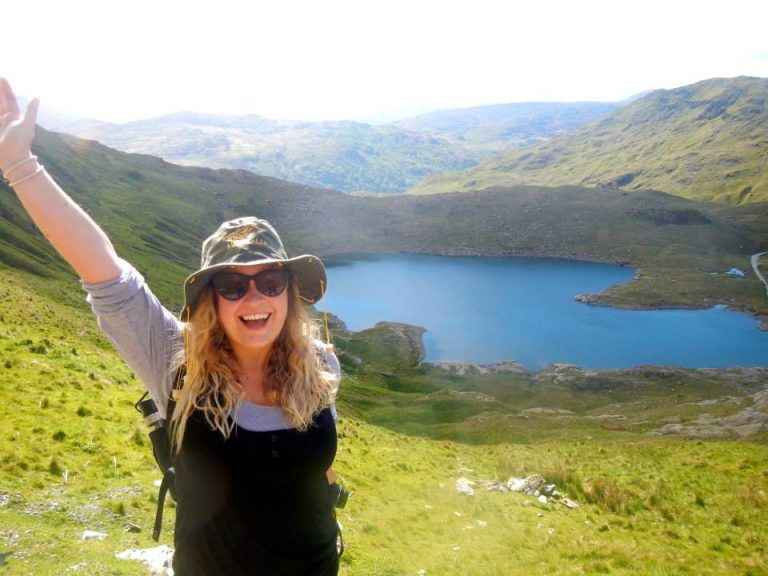 A lady in the Snowdonia mountains