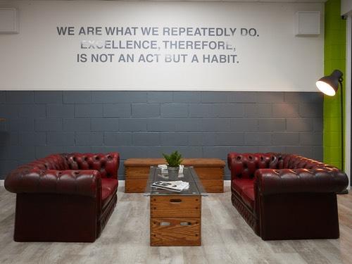 sofas 2 metres apart at Ady Watts Gym